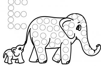 Раскраска поп ит слон и слоненок