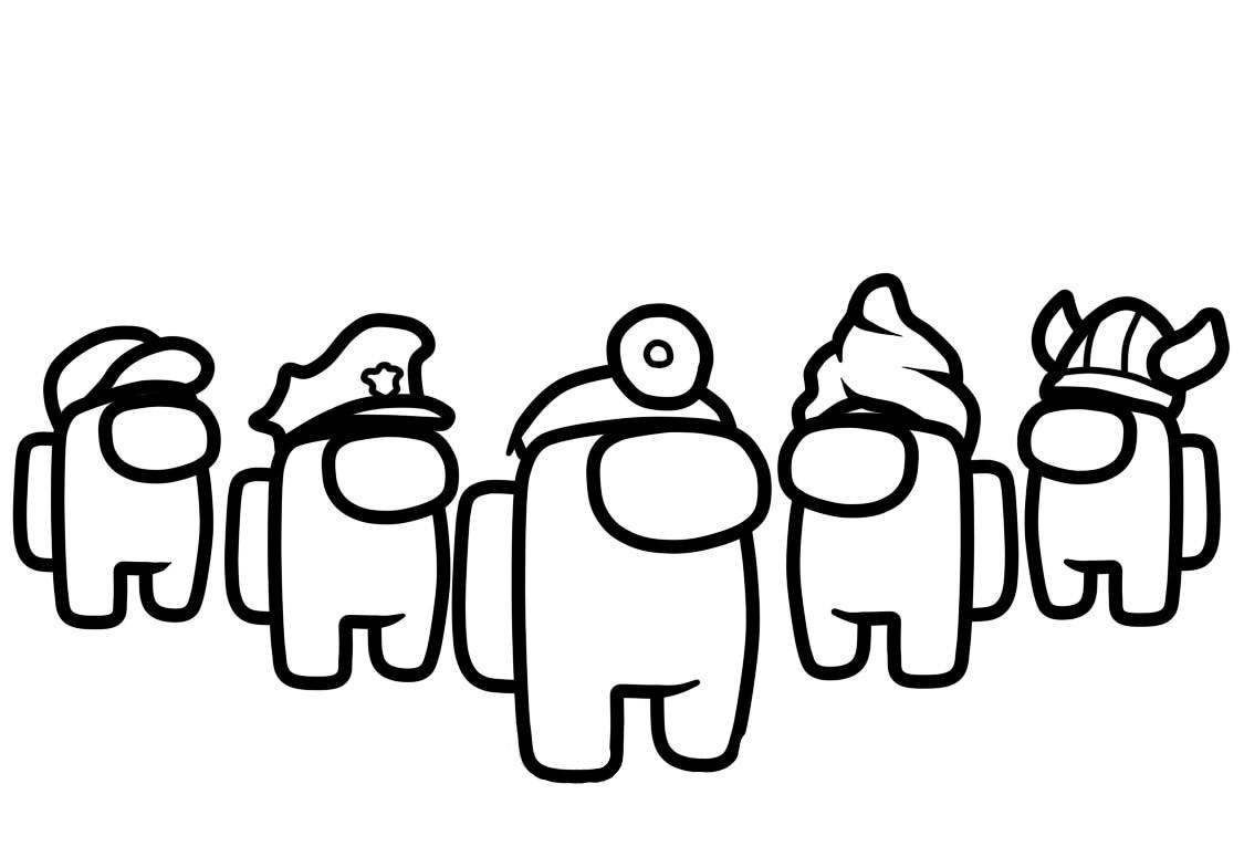 Раскраска амонг ас персонажи из игры на vipraskraski.ru