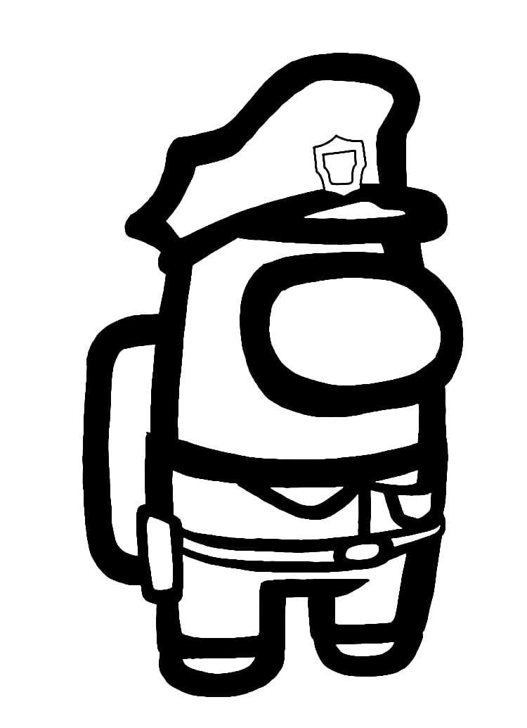 Раскраска амонг ас полицейский на vipraskraski.ru
