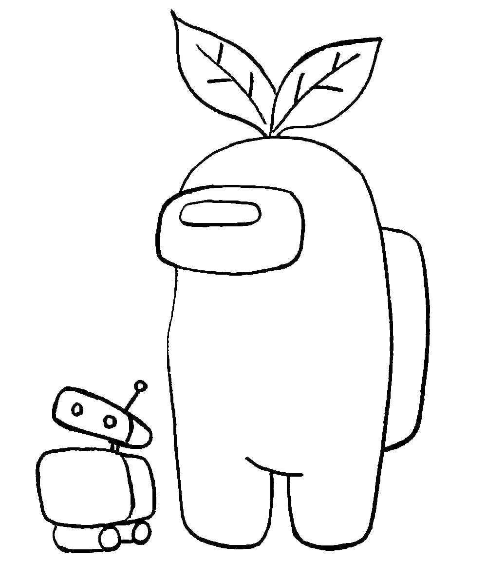 Раскраска амонг ас с росточком на голове на vipraskraski.ru