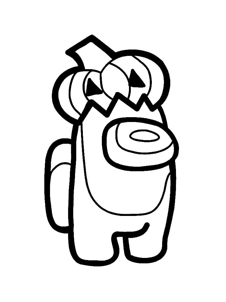 Раскраска амонг ас с тыквой на голове на vipraskraski.ru