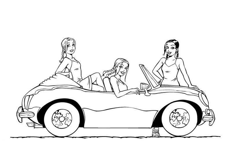 Раскраска Барби в машине на vipraskraski.ru