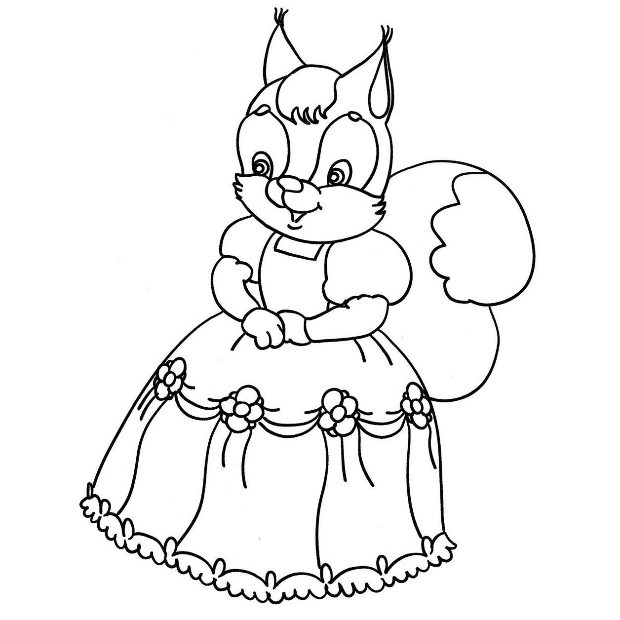 Раскраска белочка в платье на vipraskraski.ru