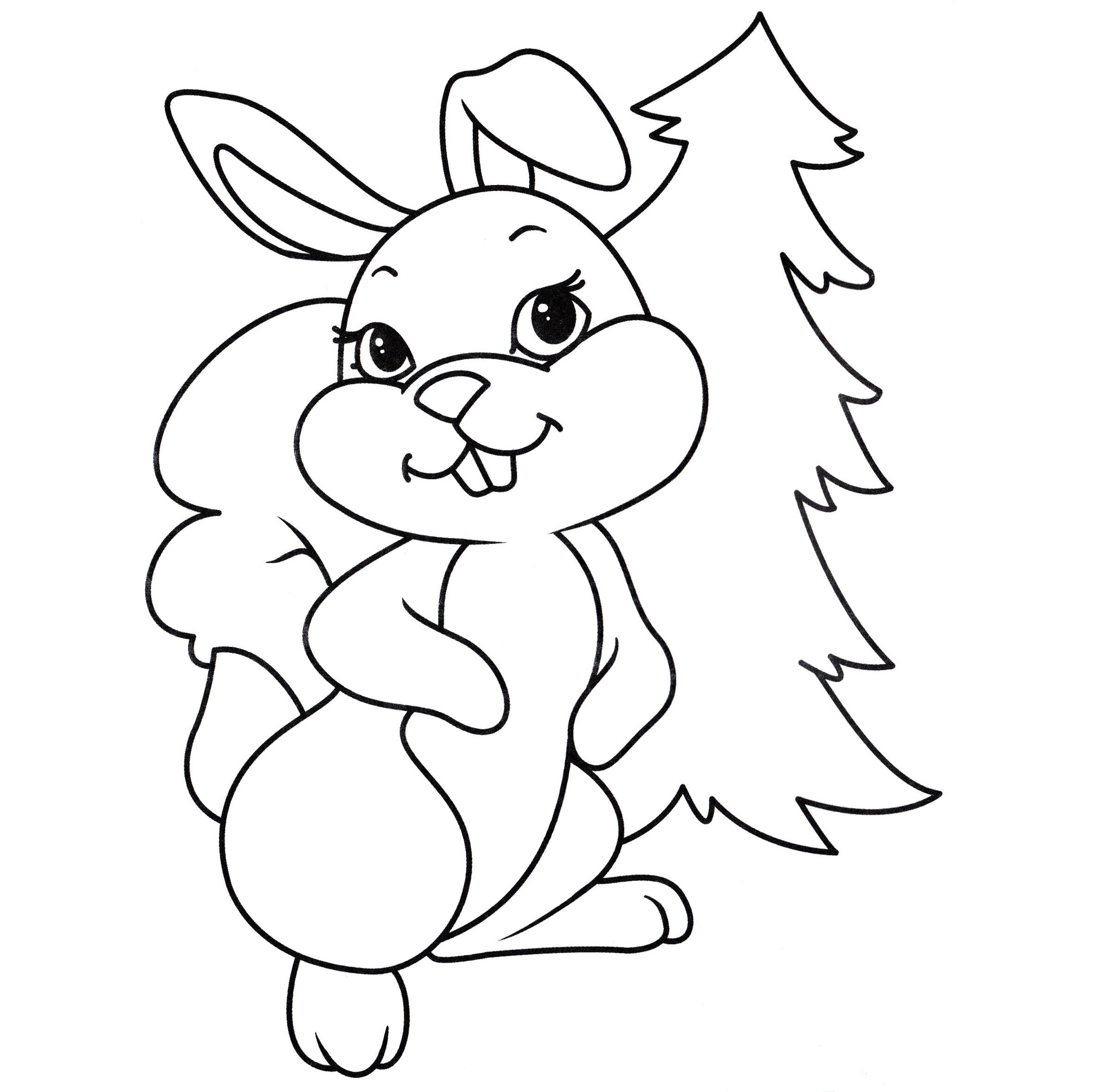 Раскраска белочка-зайчик на vipraskraski.ru
