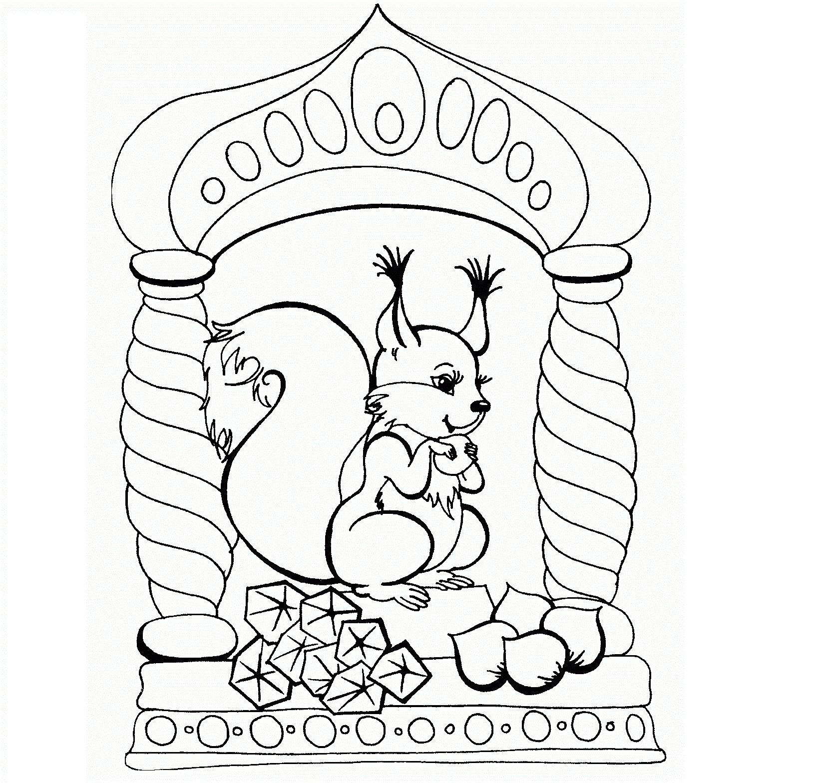 Раскраска белочка из сказки Пушкина на vipraskraski.ru