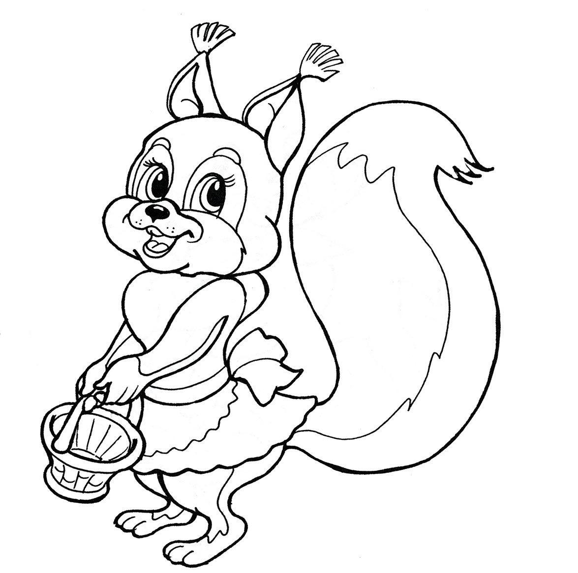 Раскраска белочка с корзинкой на vipraskraski.ru