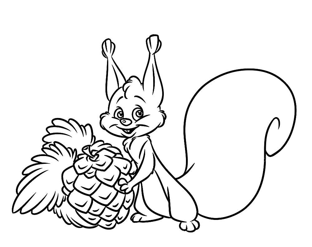 Раскраска белочка с шишкой на vipraskraski.ru