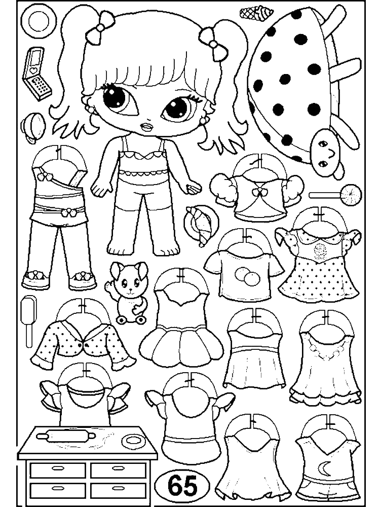 Раскраска бумажная лол с одеждой на vipraskraski.ru