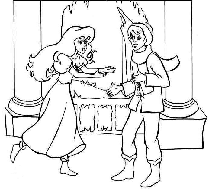 Раскраска герды из снежной королевы на vipraskraski.ru
