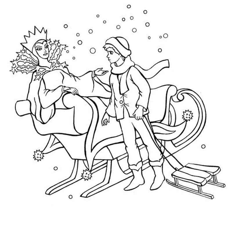 Раскраска герои из сказки снежная королева на vipraskraski.ru