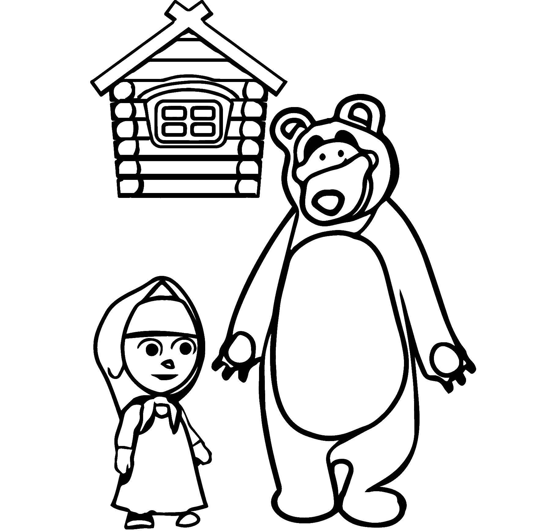 Раскраска дом медведя из мультика Маша и Медведь на vipraskraski.ru
