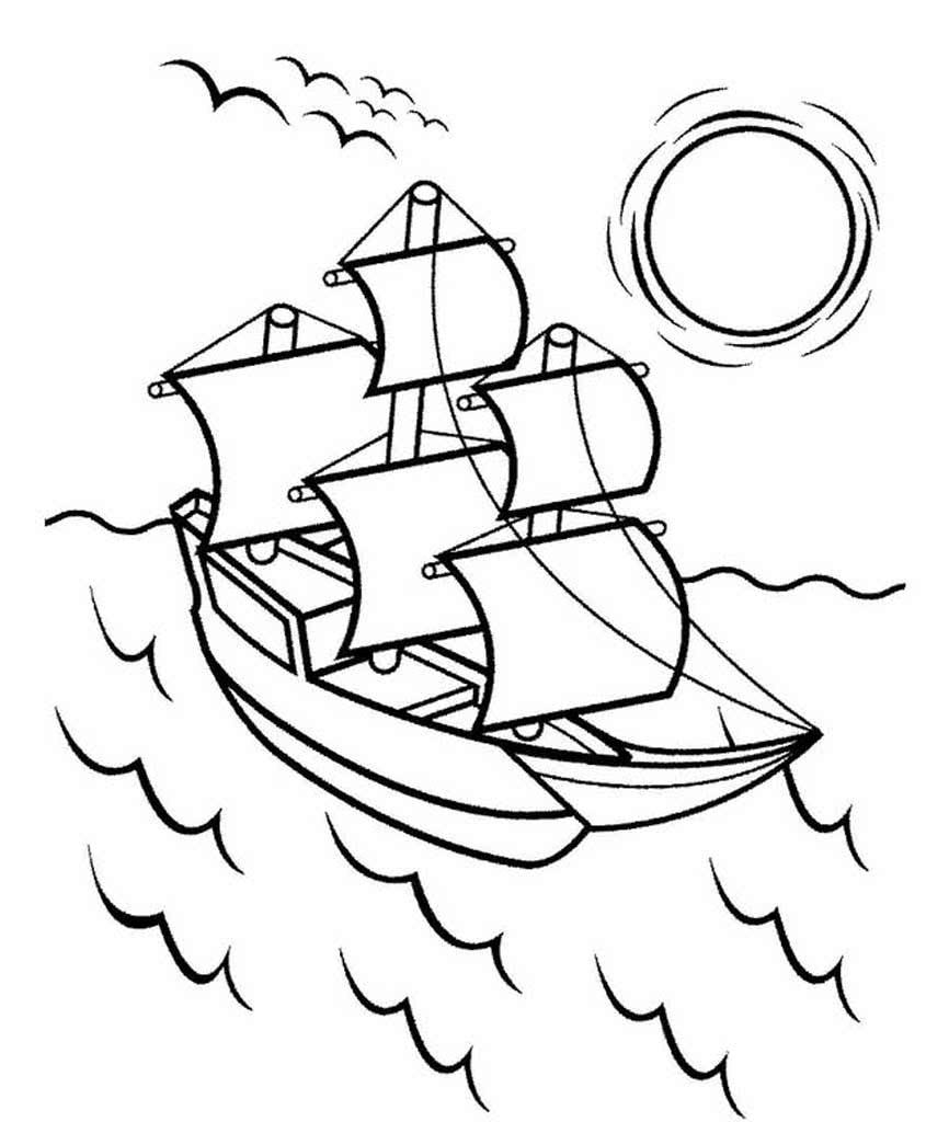Раскраска корабли в море на vipraskraski.ru