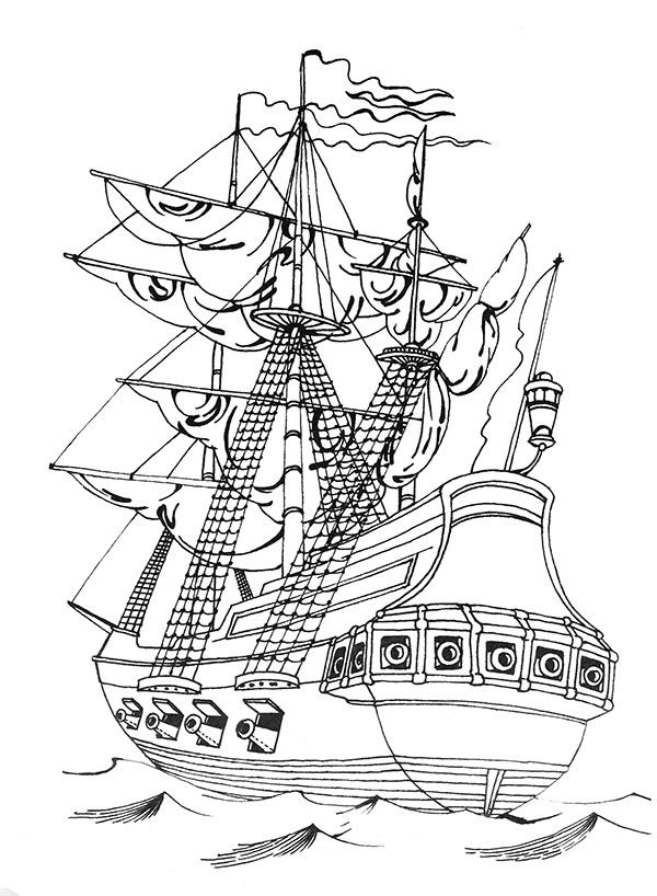 Раскраска корабли времен петра 1 на vipraskraski.ru