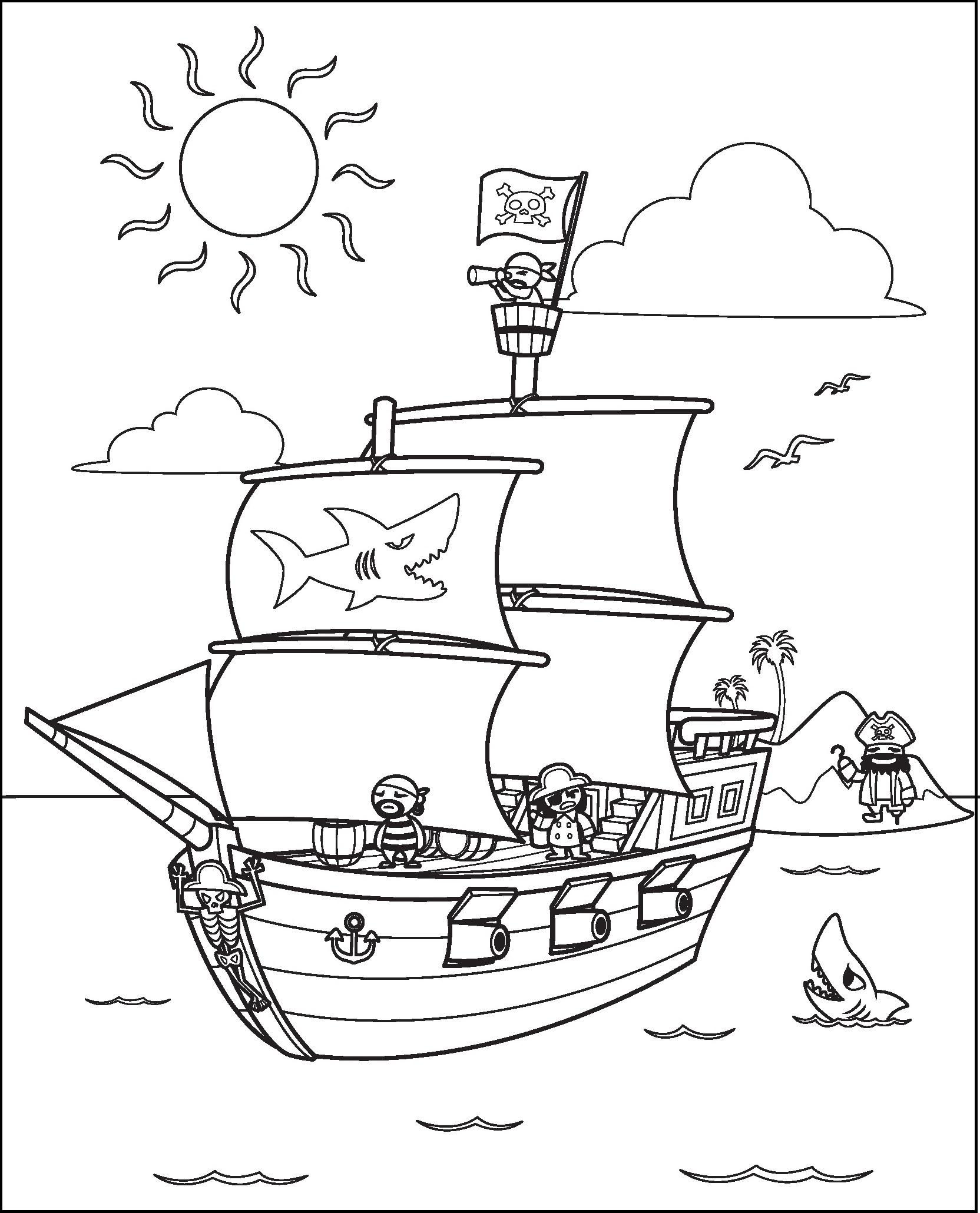 Раскраска корабли пиратов на vipraskraski.ru