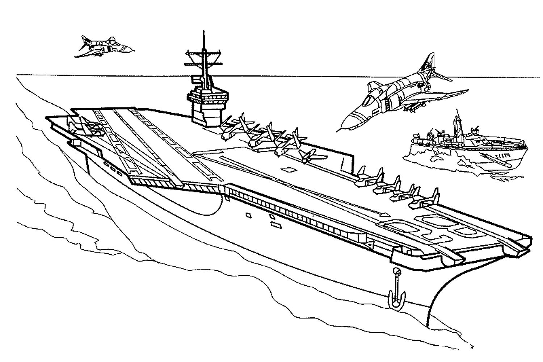 Раскраска корабль авианосец на vipraskraski.ru
