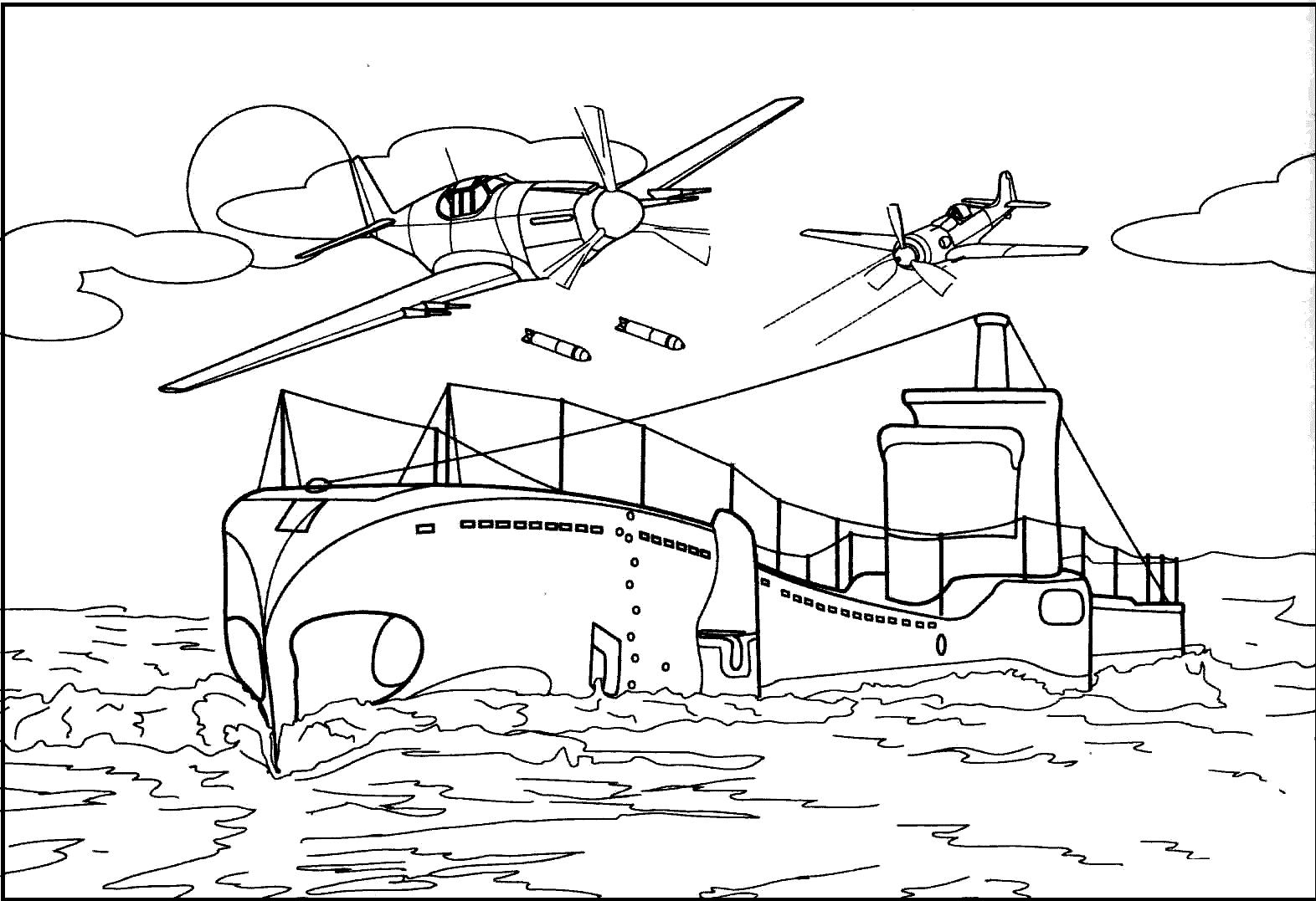 Раскраска корабль и самолет