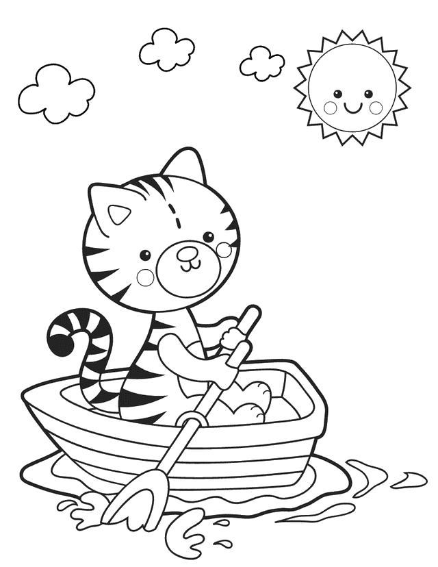 Раскраска кот в лодке на vipraskraski.ru