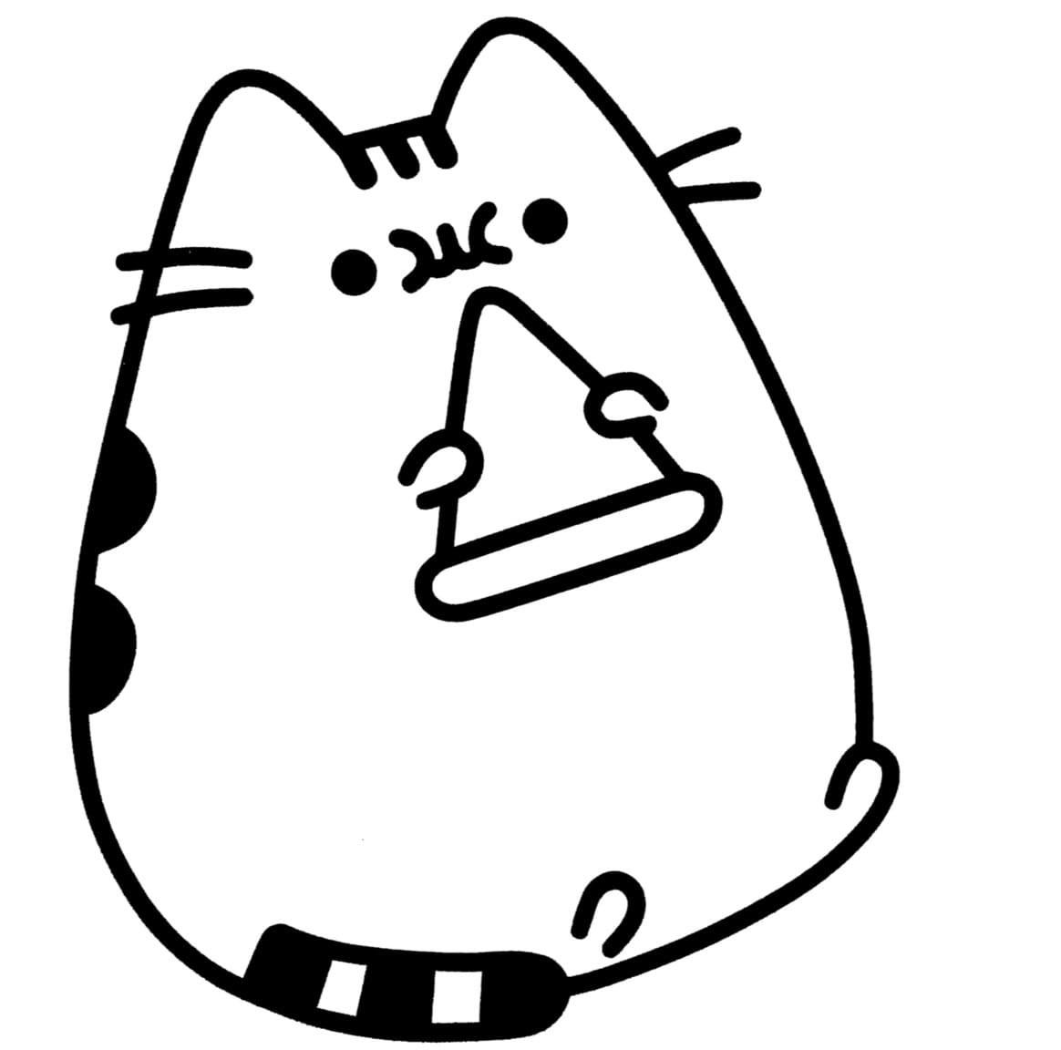 Раскраска кот с пиццей на vipraskraski.ru