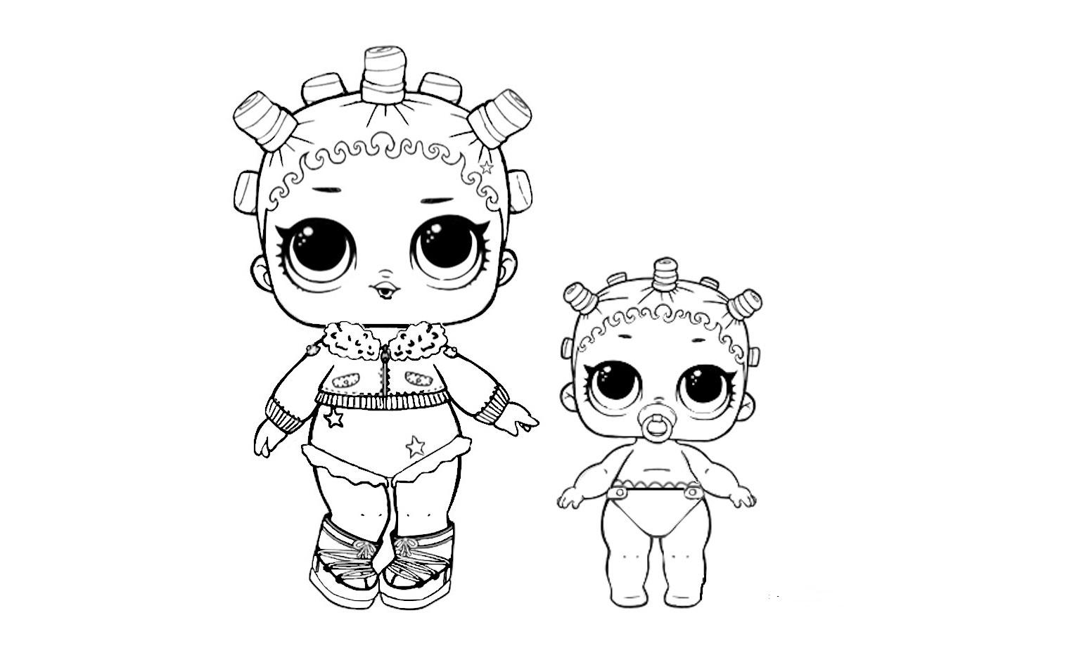 Раскраска куколки лол малышки на vipraskraski.ru