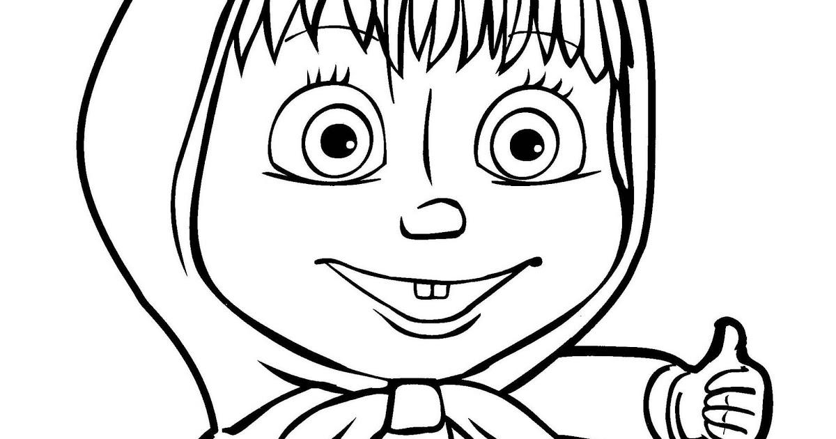 Раскраска лицо Маши из мультфильма Маша и Медведь на vipraskraski.ru