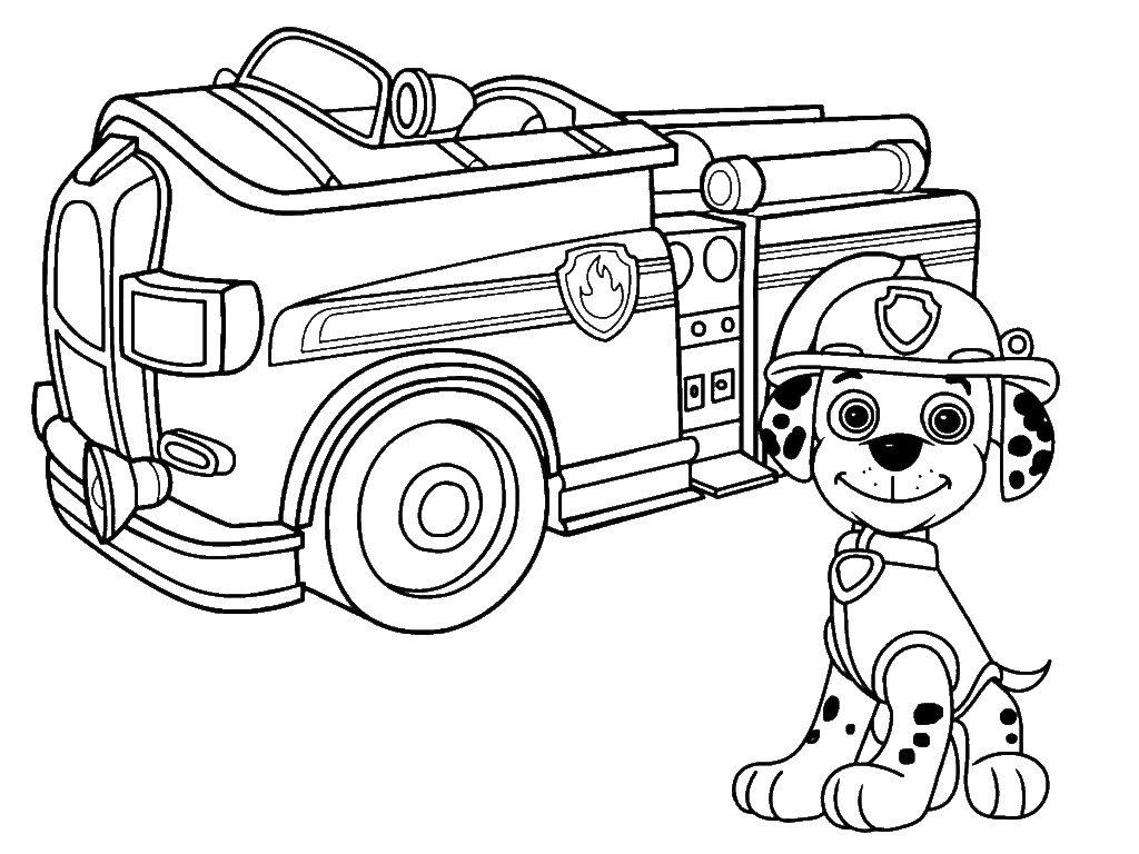 Раскраска маршал и пожарная машина