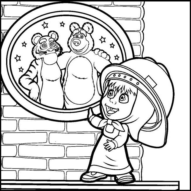 Раскраска Маша и Медведь делают ремонт на vipraskraski.ru