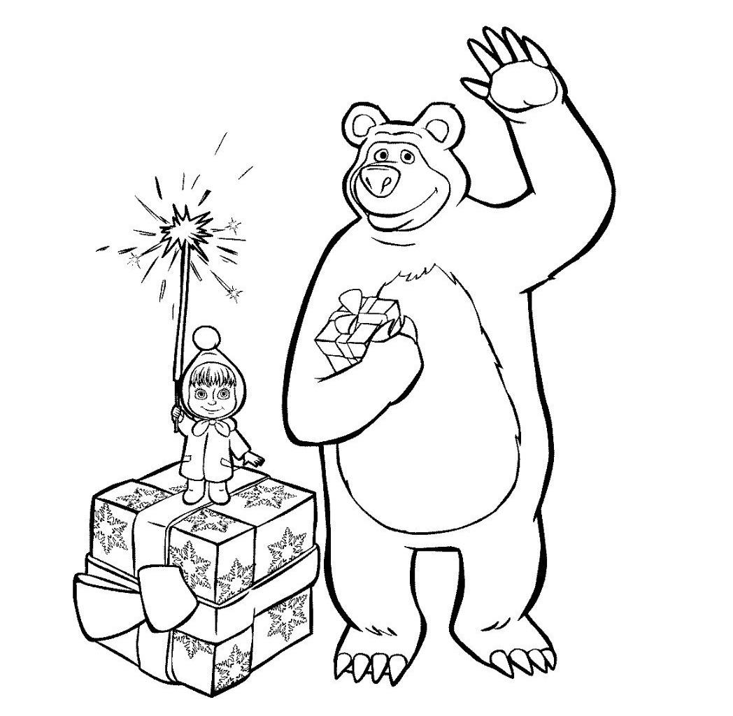 Раскраска Маша и Медведь раз в году на vipraskraski.ru