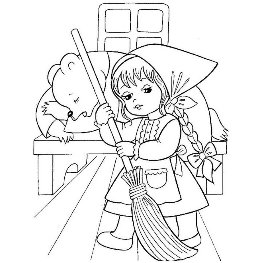Раскраска Русская сказка Маша и Медвед на vipraskraski.ru