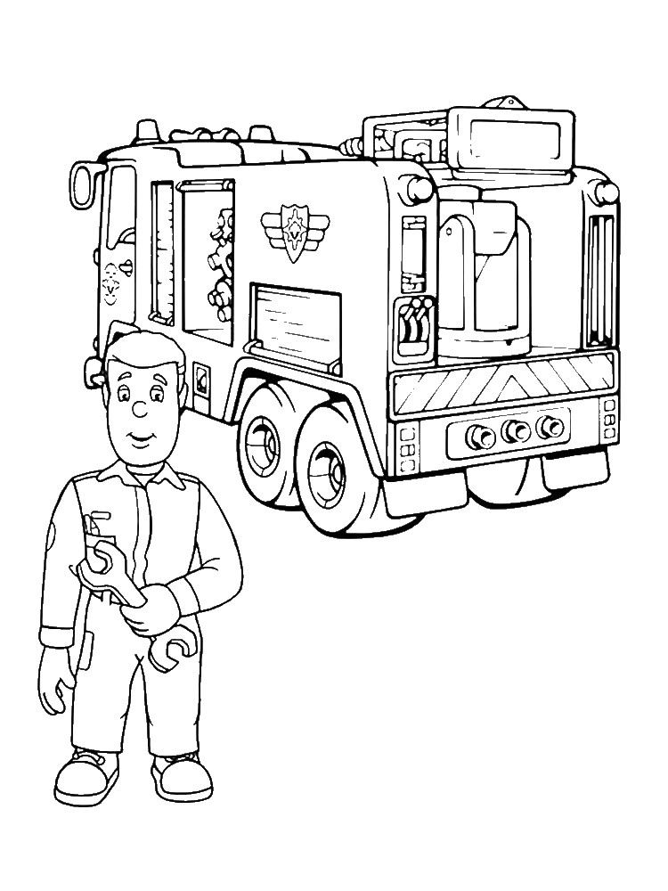 Раскраска машина пожарного сэма