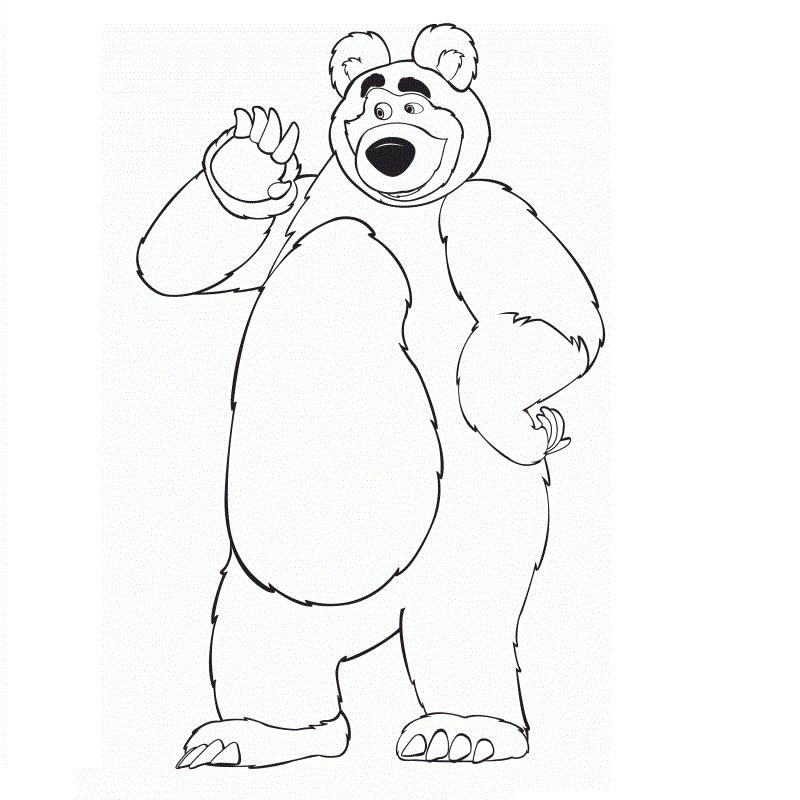 Раскраска медведь из Маши и Медведь на vipraskraski.ru
