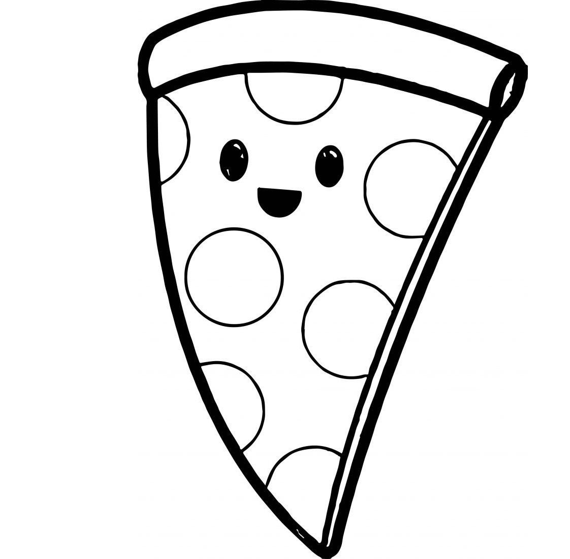Раскраска милая пицца на vipraskraski.ru
