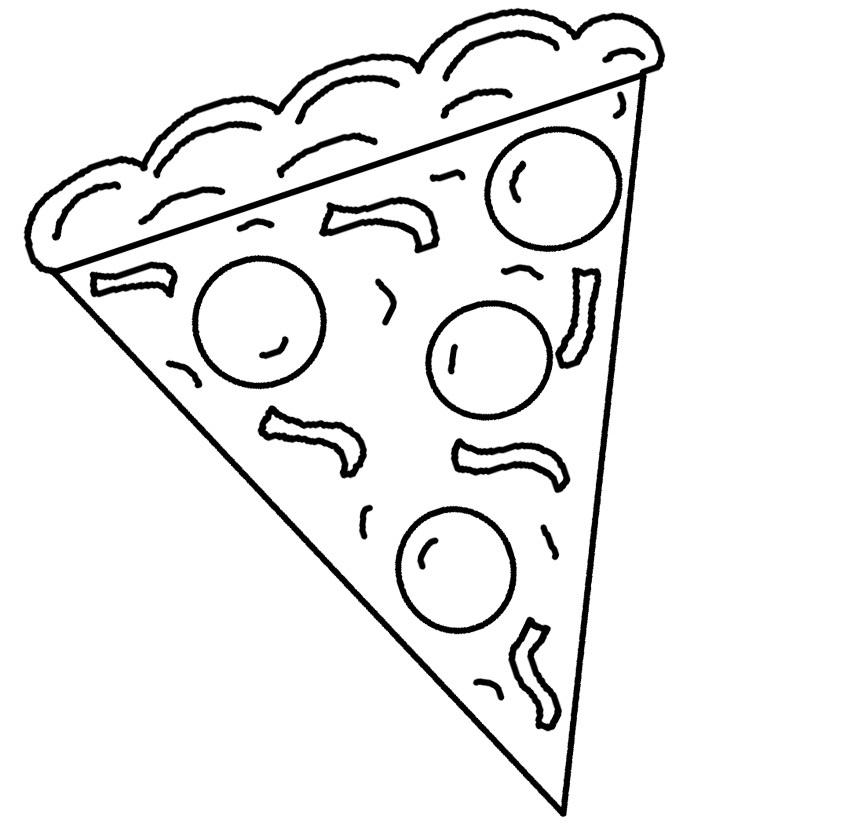 Раскраска пицца кусочек на vipraskraski.ru