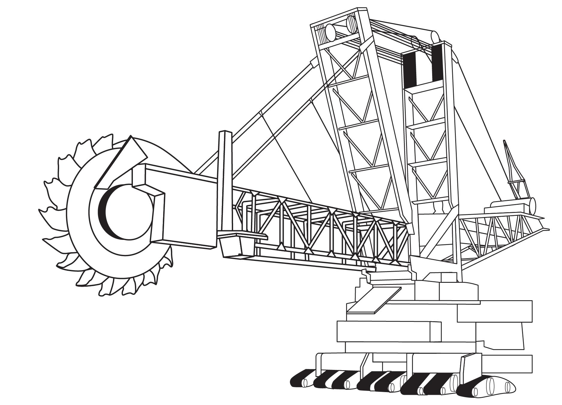 Раскраска роторный экскаватор техника на vipraskraski.ru