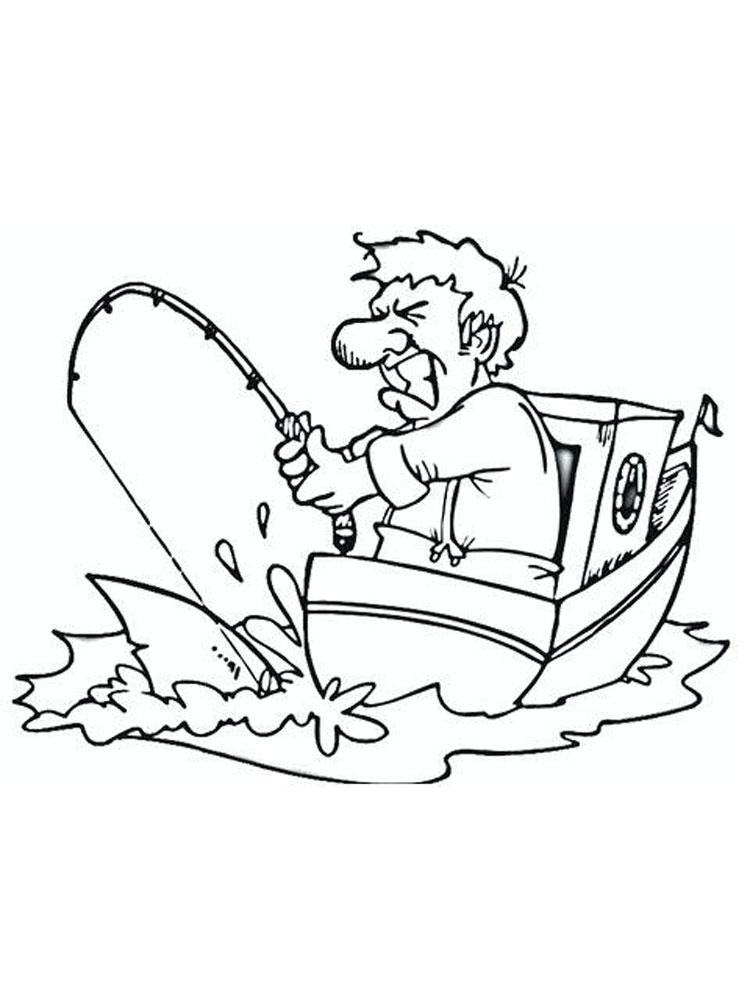 Раскраска рыбак на лодке на vipraskraski.ru