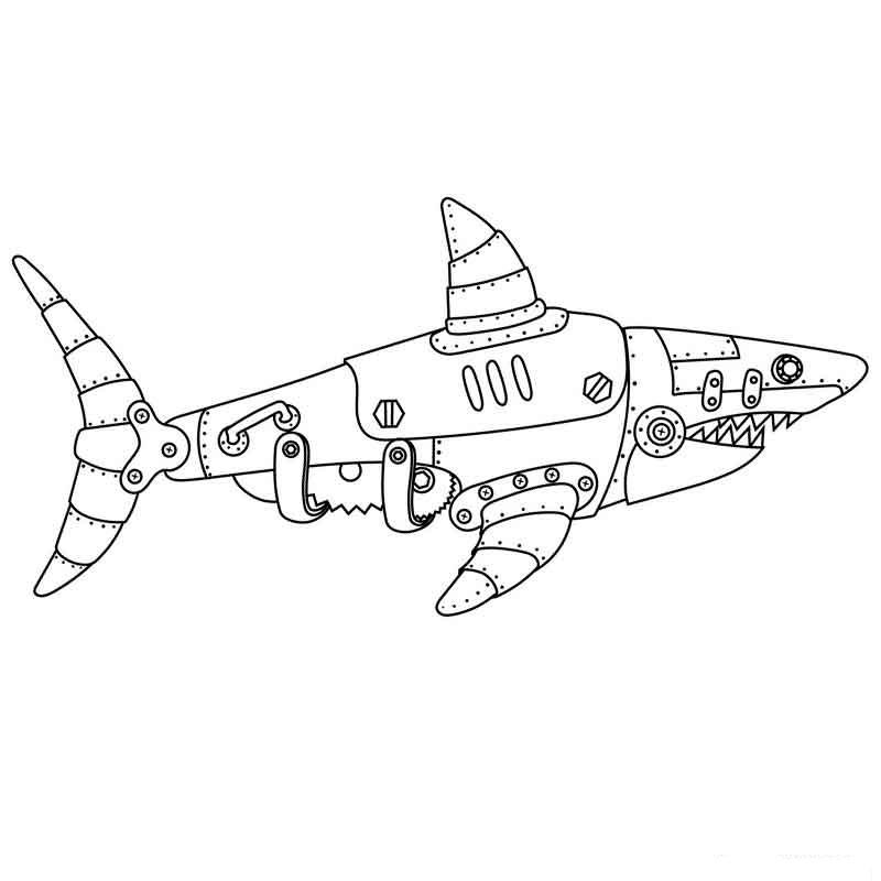 Раскраска самолет акула