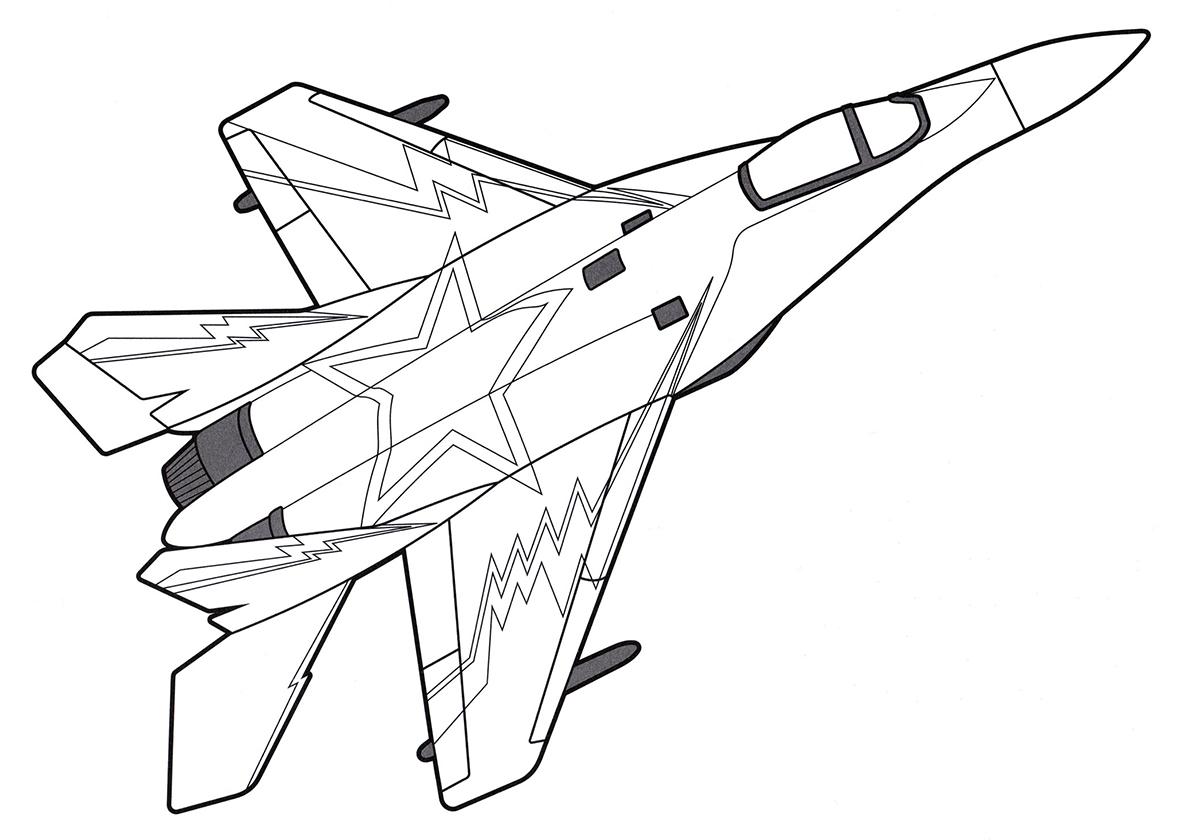 Раскраска самолет истребитель