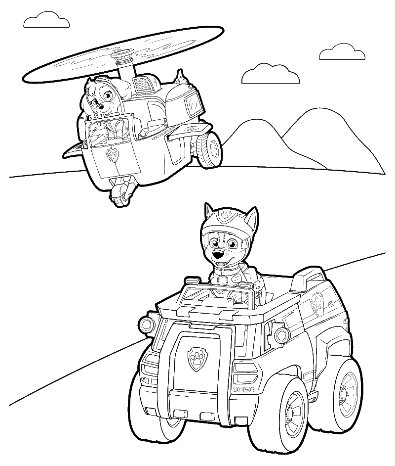 Раскраска скай на вертолете щенячий патруль