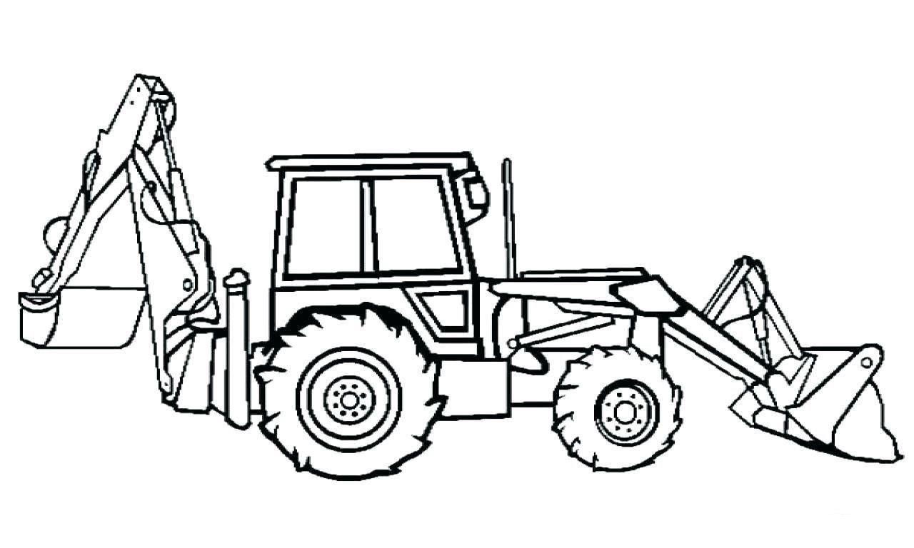 Раскраска трактор-экскаватор на vipraskraski.ru