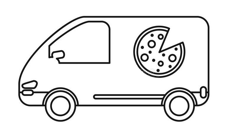 Раскраска фургон с пиццей на vipraskraski.ru