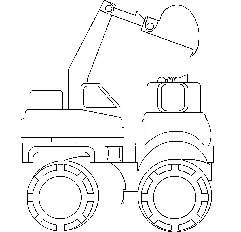Раскраска колесный экскаватор на vipraskraski.ru