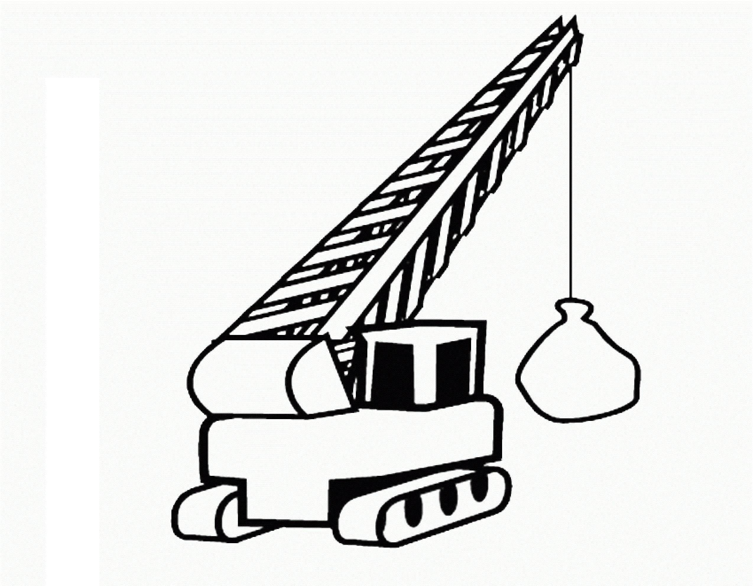 Раскраска экскаватор с шаром на vipraskraski.ru